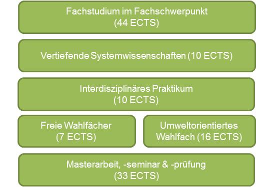 Struktur des Masterstudiums Umweltsystemwissenschaften mit Fachschwerpunkt Geographie