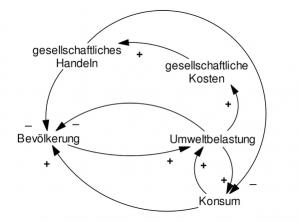 Wirkungsmodell nach Bossel als Anschauungsbeispiel für Systemwissenschaften